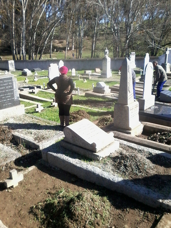 cleaning the cemetery