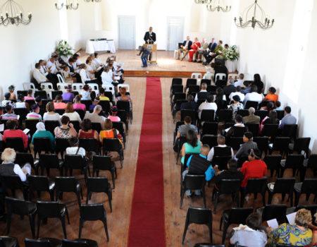 Interior of Historic Mission Church during Commemorative Service